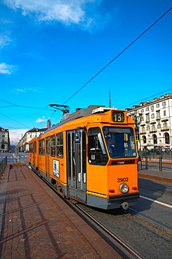 Tram 13 at Piazza Vittorio Veneto square Turin city Piedmont region northern Italy Europe.