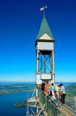 View over Lake Lucerne (Vierwaldstattersee) from the upper deck of the Hammetschwand Lift, Europe's highest outdoor elevator, on the Burgenstock massif near Lucerne, canton of Lucerne, Switzerland.