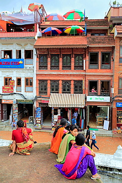 Old houses near Boudhanath stupa, Kathmandu, Nepal.
