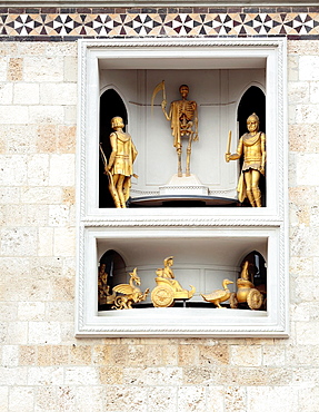 Sculptures of the clock of belfry of Messina Cathedral, Messina, Sicily, Italy.