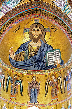 Mosaic of Christ Pantokrator (12th century), Cefalu Cathedral, Cefalu, Sicily, Italy.