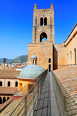 Tower of Monreale Cathedral, Monreale, Sicily, Italy.