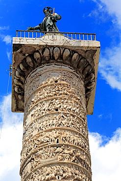 Column of Marcus Aurelius (193), Piazza Colonna, Rome, Italy.