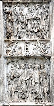 Bas relief on Arch of Trajan, Benevento, Campania, Italy.