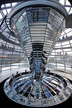 Glass dome of Reichstag, Berlin, Germany.