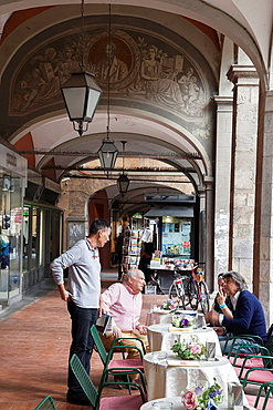 Arcade in Borgo Stretto Street; Pisa; Italy;.