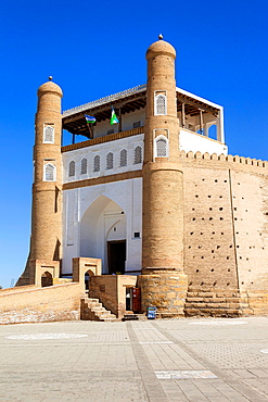 Entrance of the Ark Fortress, Registan Square, Bukhara, Uzbekistan.