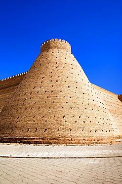 Outer walls of the Ark Fortress, Registan Square, Bukhara, Uzbekistan.