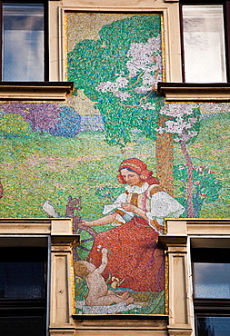 Jan Preisler's 'Trade and Industry' mosaic (1901-2) decorates the facade of the art nouveau department store 'U Novaku' (Novak's) near Wenceslas Square, Vodickova street, Prague, Czech Republic, Europe.