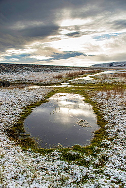 Snow-covered nature area near of Skaftafell National Park, Iceland.
