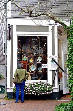 Window shopping at a store on Nantucket, Massachusetts, United States.
