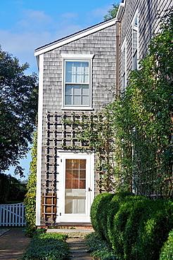 Entrance to a shingled home, Nantucket, Massachusetts, United States.
