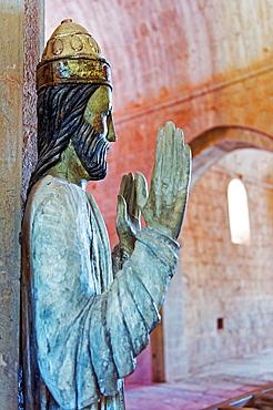 Europe, France, Var, Le Thoronet, Cistercian Abbey. Religious statue.