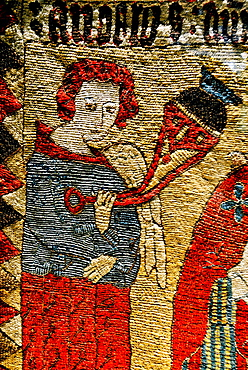 Detail of embroidered altar frontal from Draflastair, North Iceland, 16th century, exhibit in National Museum of Iceland, Reykjavik.