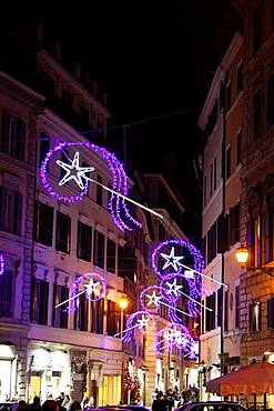 Rome, Italy 9 December 2013 Christmas lights in the centre of Rome, Italy