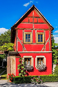 The village center of Altzitzschewig with the adjoining building from the Dreiseithof Altzitzschewig 8. Zitzschewig is a district of Radebeul near Dresden, administrative district Meissen, Saxony, Germany, Europe.