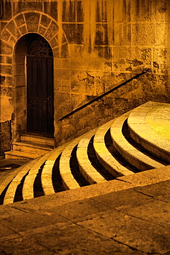 Italian Building and Curved Steps at Night in Cagliari, Sardinia.