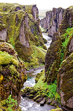 Fjarargljufur is a canyon in south east Iceland which is up to 100 m deep and about 2 kilometres long, with the Fjara river flowing through it.