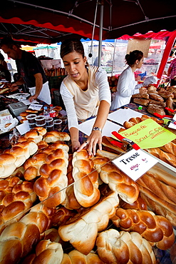 Lausanne Market on Place Riponne post a variety of typical bread shaped braid. Lausanne, Vaud, Switzerland, Europe.
