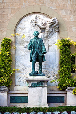 Statue in honor of Major Davel, the local hero who fought the Bernese. At the foot of the Palace of Saint Mairs. Lausanne, Vaud, Switzerland, Europe.