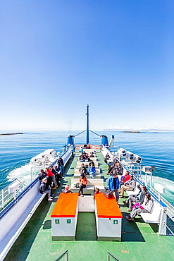"""Traveling on a ferry boat named """"Baldur"""" to Flatey Island, Borgarfjordur, Iceland."""