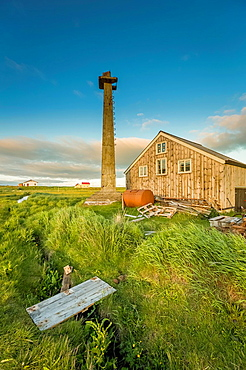 Lookout tower and homes, Flatey Island, Borgarfjordur.