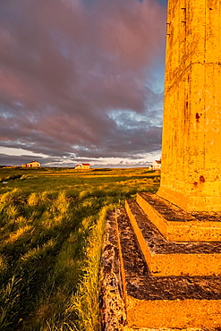 Side of lookout tower at sunset, Flatey Island, Borgarfjordur, Iceland.