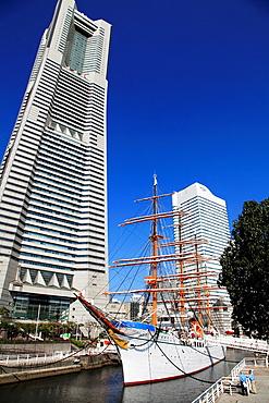 Japan, Yokohama, Minato Mirai, Landmark Tower, Nippon Maru ship,.