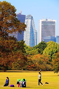 Japan, Tokyo, Shinjuku Gyoen National Garden, Shinjuku skyline, people,.