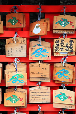 Japan, Kyoto, Fushimi Inari Taisha Shrine, ema, votive tablets,.