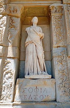 Sculpture, antique city of Ephesus, Efes, Turkey, Western Asia.