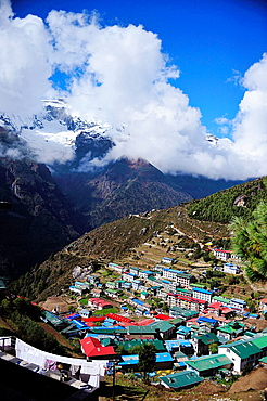 Namche Bazaar, Sagarmatha National Park, the Himalaya range, Khumbu area, Solukhumbu District, Sagarmatha Zone, Nepal.