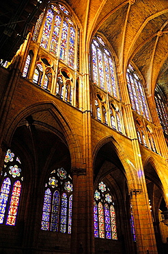 Stained glass windows on main nave, Cathedral, Leon, Spain