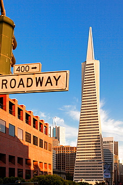 Transamerica Tower from Broadway Street,Downtown San Francisco,California