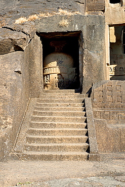 Cave 3, Kanheri cave, Mumbai. Stupa with intrusive Buddha figures-adjacent to Chaitya.