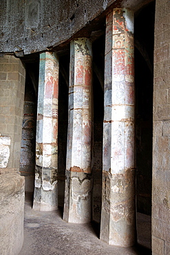 Pitalkhora Caves. Painted standing Buddhas of 5th. Century AD on pillars of Chaitya 3. Aurangabad district, Maharashtra, India.