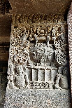 Cave 15, Dashavatara. Detail of pillar shaft with leaf and foliage motif and dwarf figures at the lower portion. Ellora Caves, Aurangabad, Maharashtra India.