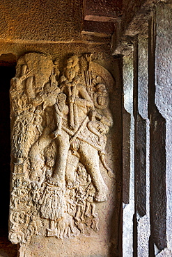 Image of Indra in the verandah of Vihara 20. circa 150 B.C. Slender pillars on the right. Bhaja caves, Dist. Pune, Maharashtra, India.