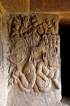 Image of Surya or Sun God in the verandah of Vihara 20. circa 150 B.C. Bhaja caves, Dist. Pune, Maharashtra, India.