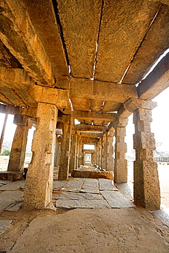 interiors of temples at Hampi, Karnataka. World heritage site India