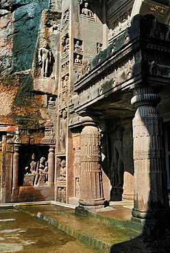 Cave 19 : Portion of facade of Chaitya. Ajanta Caves, Aurangabad, Maharashtra, India.