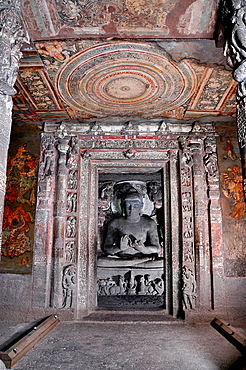 Cave 1: Sanctum, Buddha in Teaching Pose. Ajanta Caves, Aurangabad, Maharashtra, India.