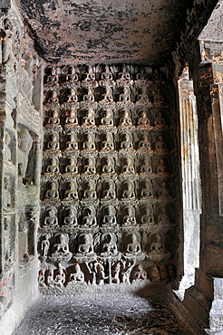 Cave 07: The Shravasti miracle represented by a sculpture on both sides of vestibule. Ajanta Caves, Aurangabad, Maharashtra, India.