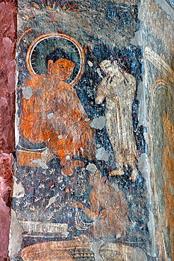 Cave 10: Paintings on Pillars. Seated Buddha image in boon giving posture. Ajanta Caves, Aurangabad, Maharashtra, India.