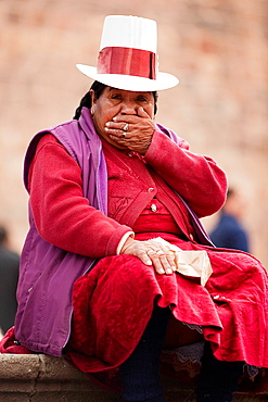 Indigenous woman with bowler hat, Cusco, Peru, South America.