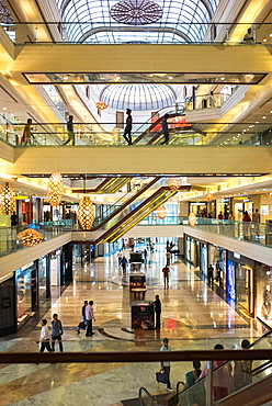 Interior of an upscale shopping mall.