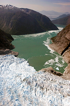 Aerial view of the Le Conte and Patterson Glacier, the Stikine Ice Field, and the mountains surrounding the town of Petersburg, Southeast Alaska, USA.