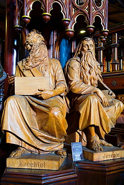 Montreal, Quebec, Canada, Notre Dame Basilica, wooden statutes of the prophets Ezechial, and Jeremiah