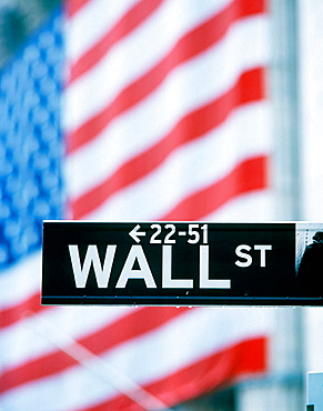 Wall Street sign, financial district, Manhattan, New York City, USA