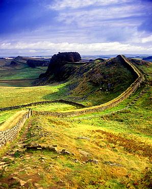Scenic hadrian's wall ruins, Northumberland, England, UK